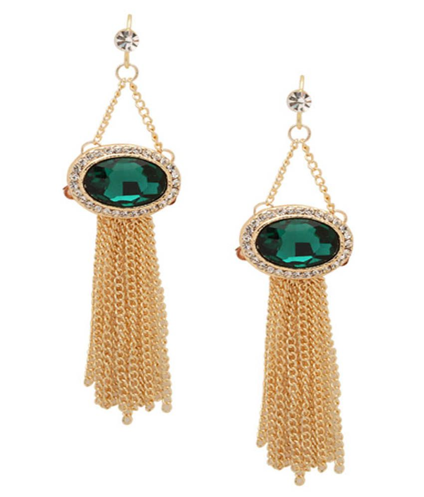 Tipsyfly Green Festive Wear Hanging Earrings