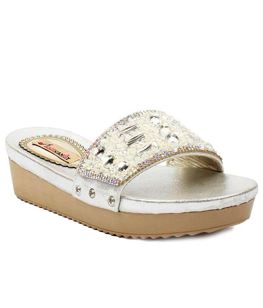 Foot Candy Silver Platform Slip - Ons
