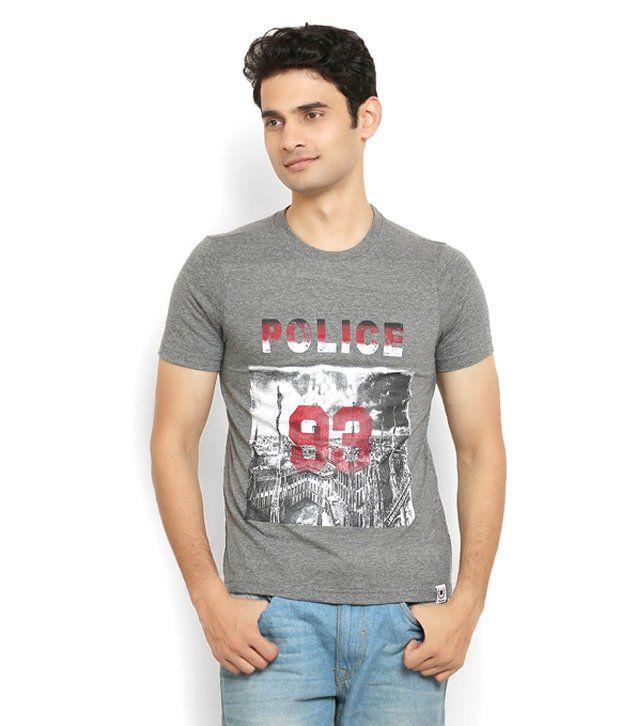 Police Grey 100 Percent Cotton T Shirt