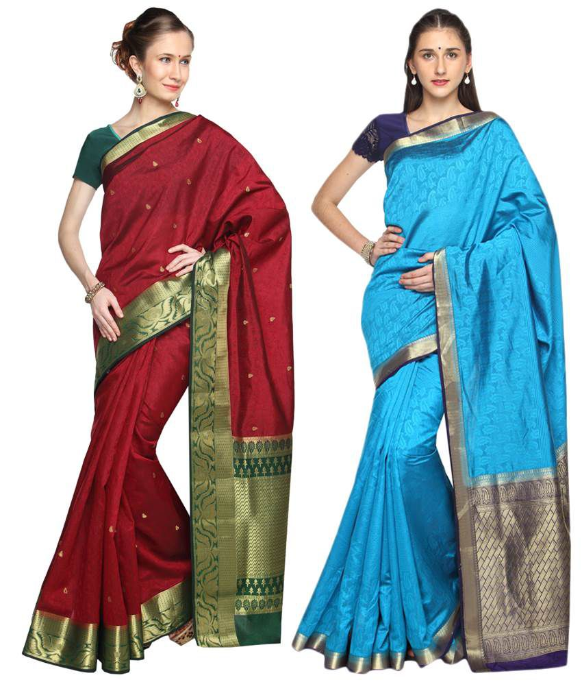 Reet Pack of 2 Maroon & Blue Printed Cotton Sarees with Blouse Pieces