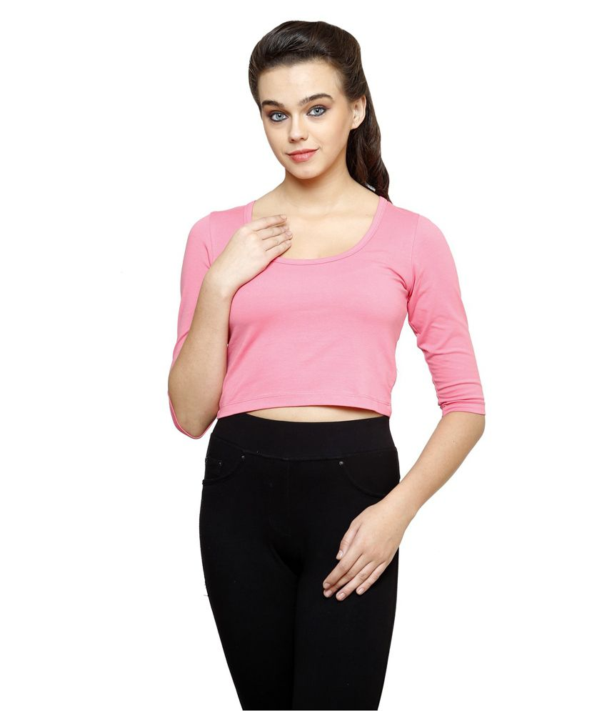 Finesse Plus Size 3/4th Sleeve Pink Crop Top
