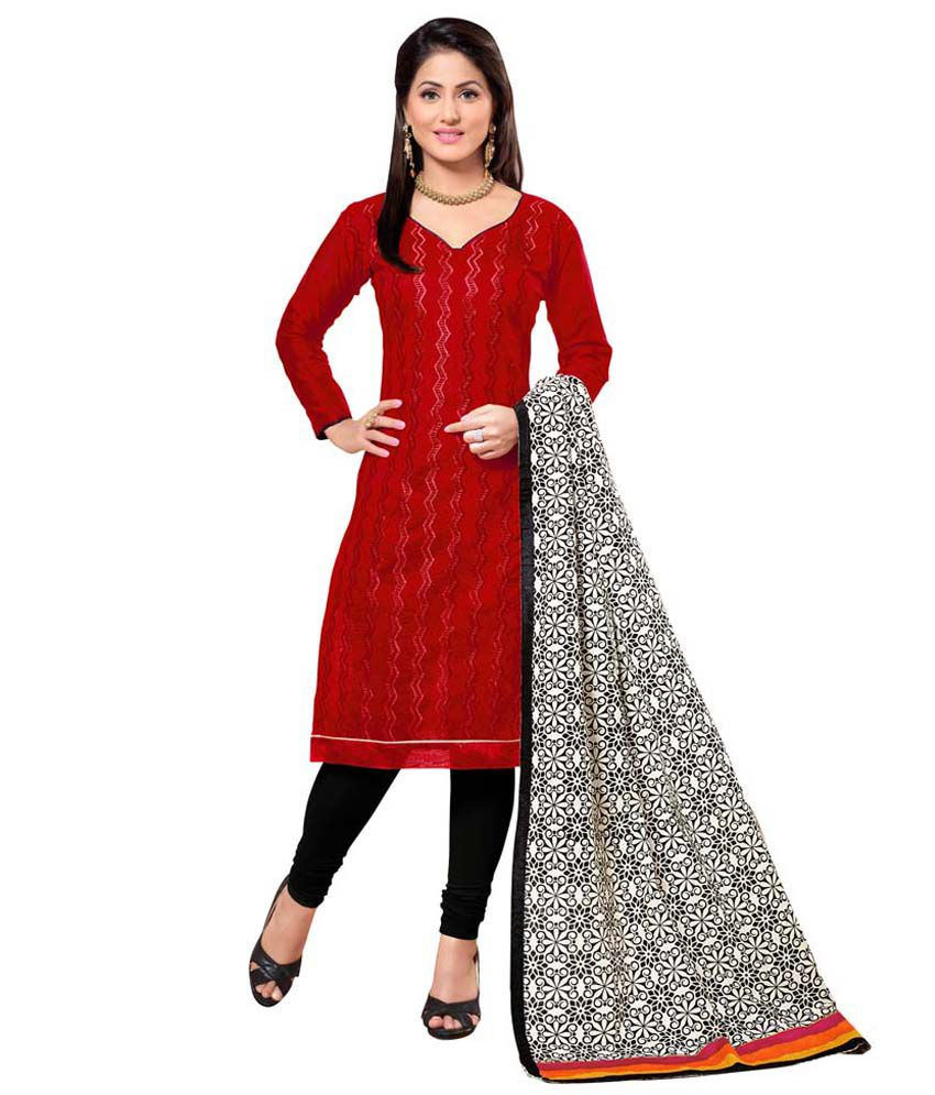 JIya Red Chanderi Unstitched Dress Material