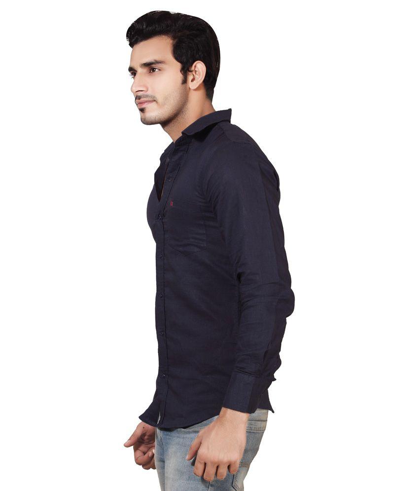 1af2cd0d7e5d Sketch Mens Cotton Linen Navy Blue Casual Shirt - Buy Sketch Mens ...