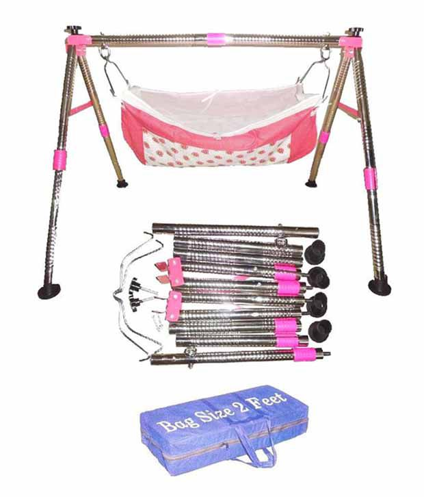 Smart Baby Products Stainless Steel Round Pipe NRI Foldable Pink Baby Cradle
