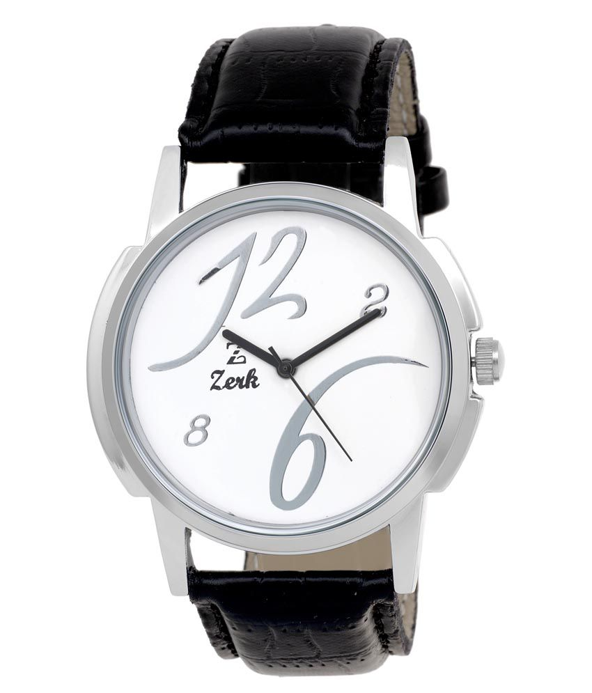 Zerk White Leather Round Analog Watch