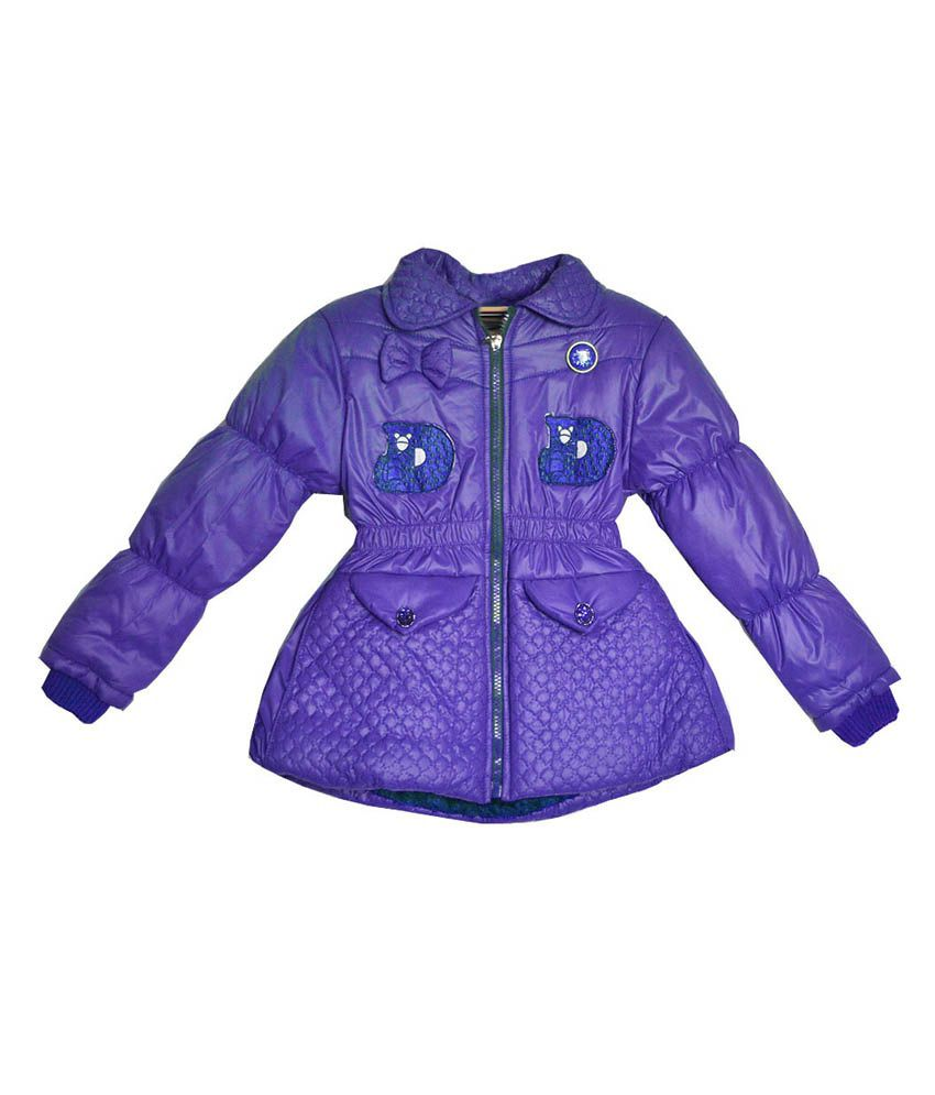 London Girl Purple Little Bow Hooded Jacket for Girls