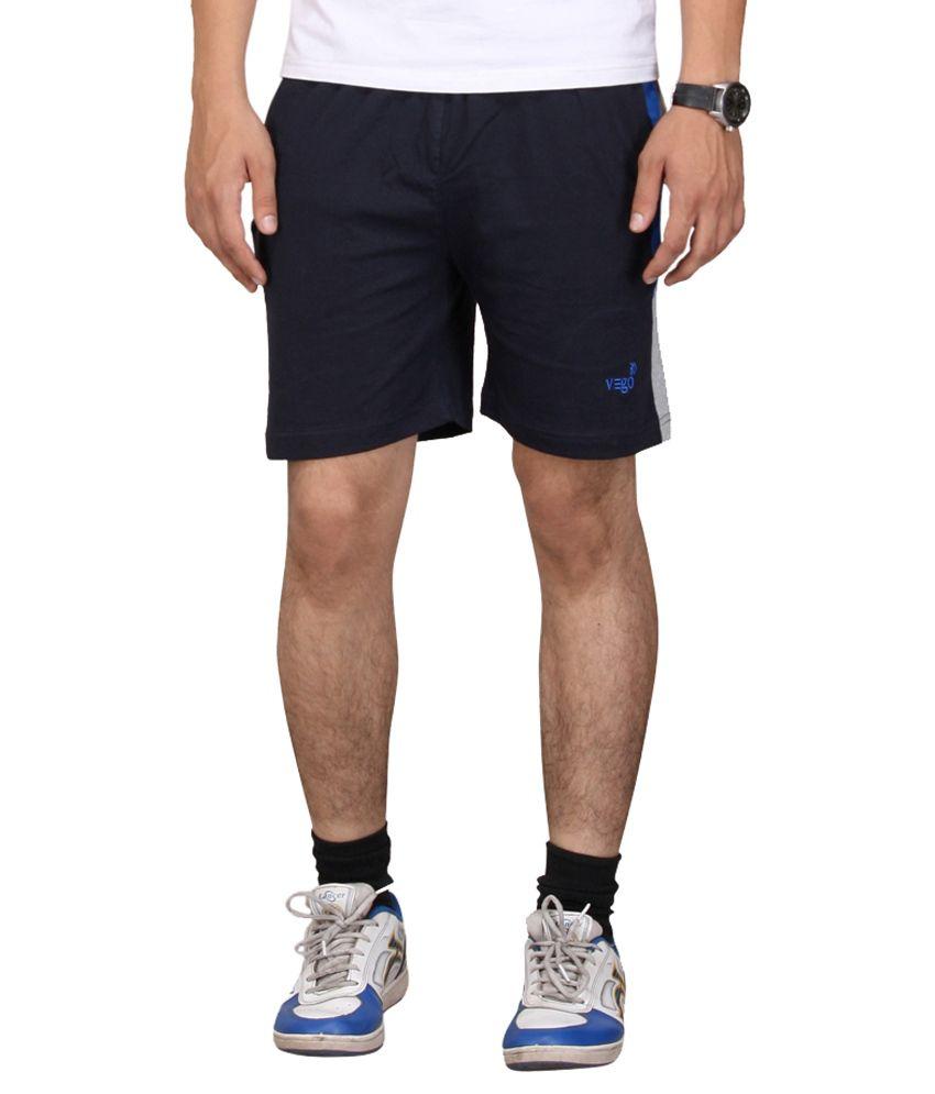 Vego Navy Cotton Shorts