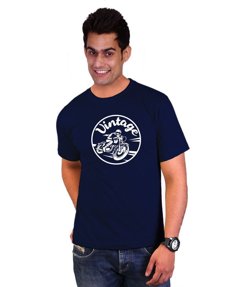 Wicked Bite Design Navy Blue & White Printed Cotton T Shirt