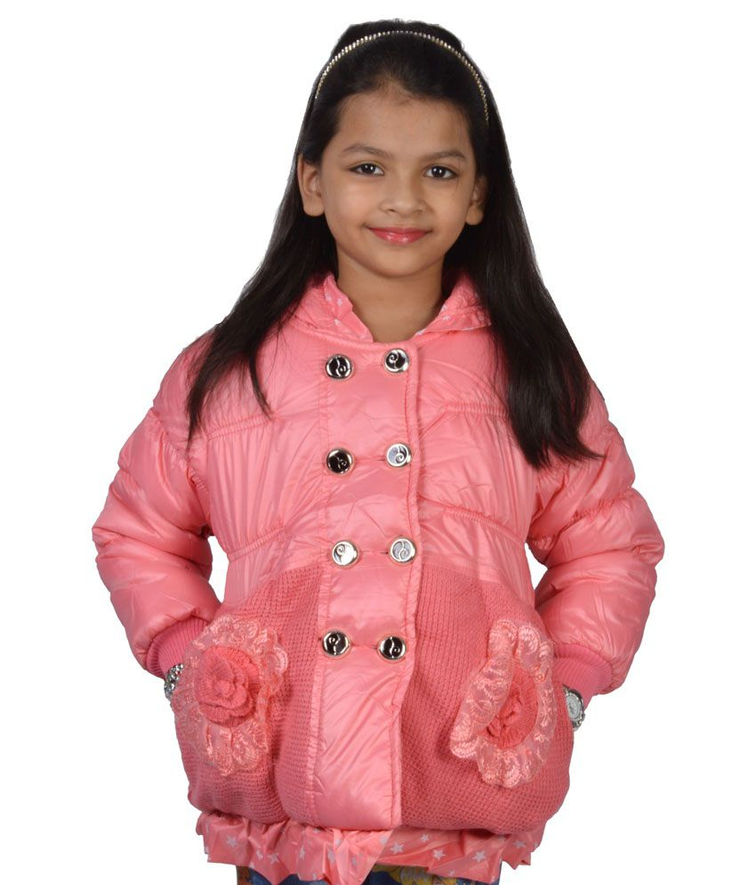 Babydoll Pink Nylon Full Sleeves Padded Jacket With Hood