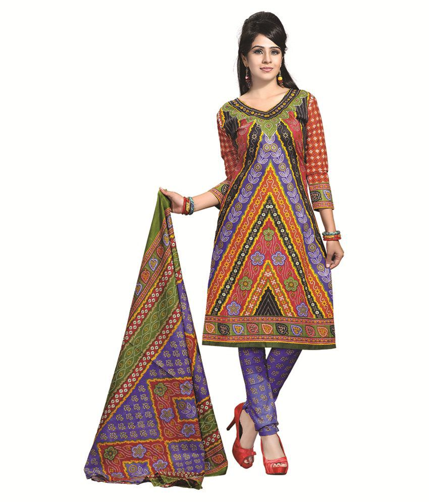 Disha Multi Color Cotton Unstitched Dress Material