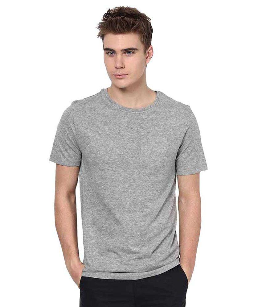 K P Junction Grey Cotton Blend T-shirt