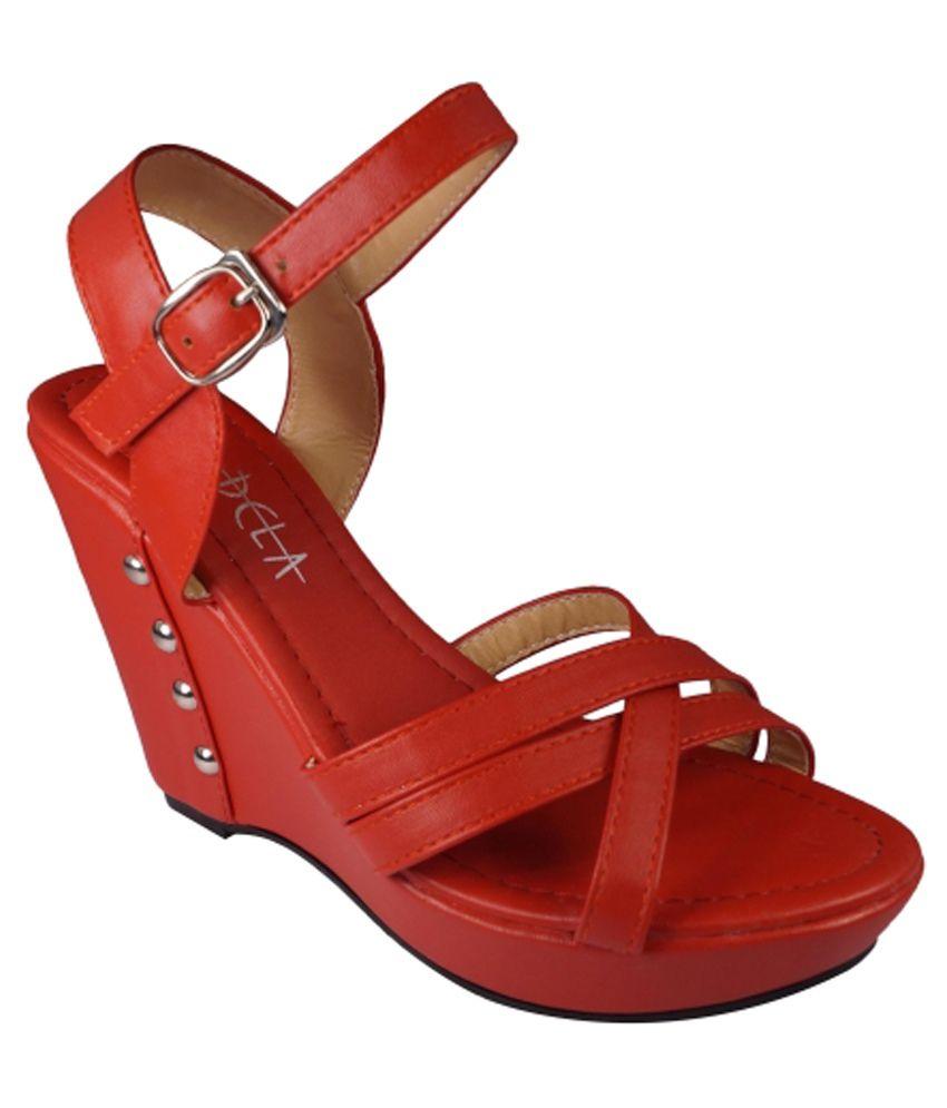 Ladela Red Wedges Sandals