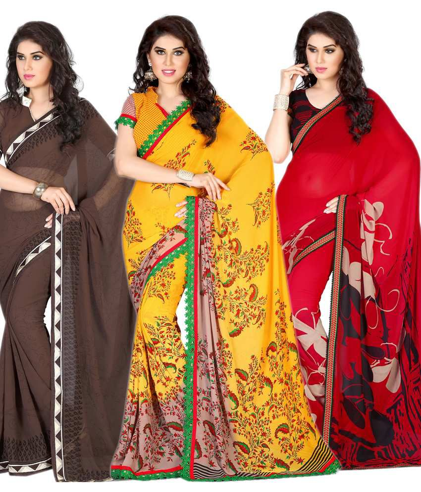 Right Choice Multicolor Faux Georgette Pack of 3