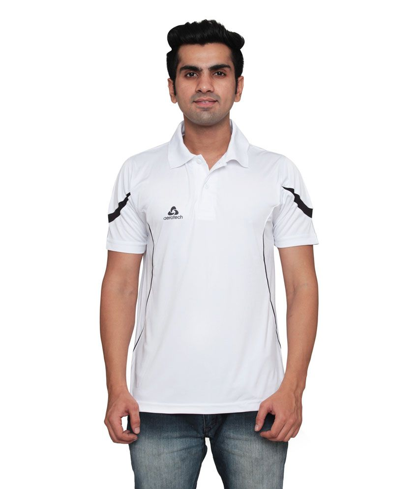 Aerotech White Polyester T-Shirt