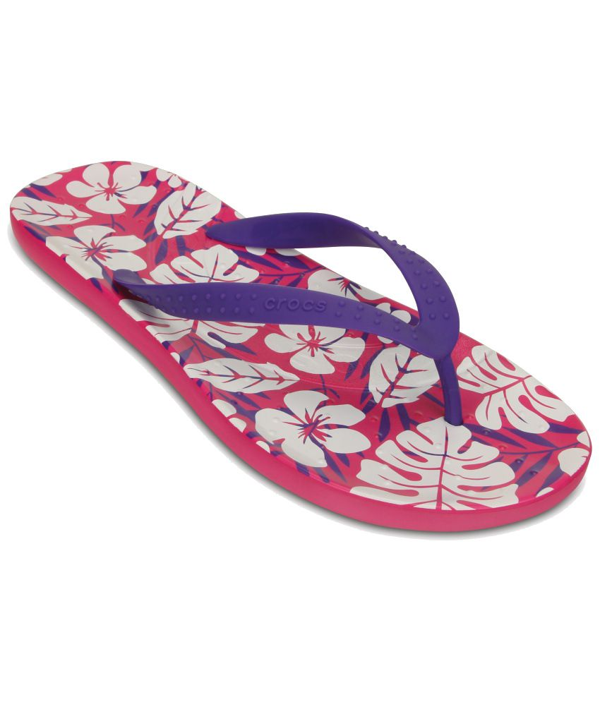 Crocs Pink Relaxed Fit Slippers & Flip Flops