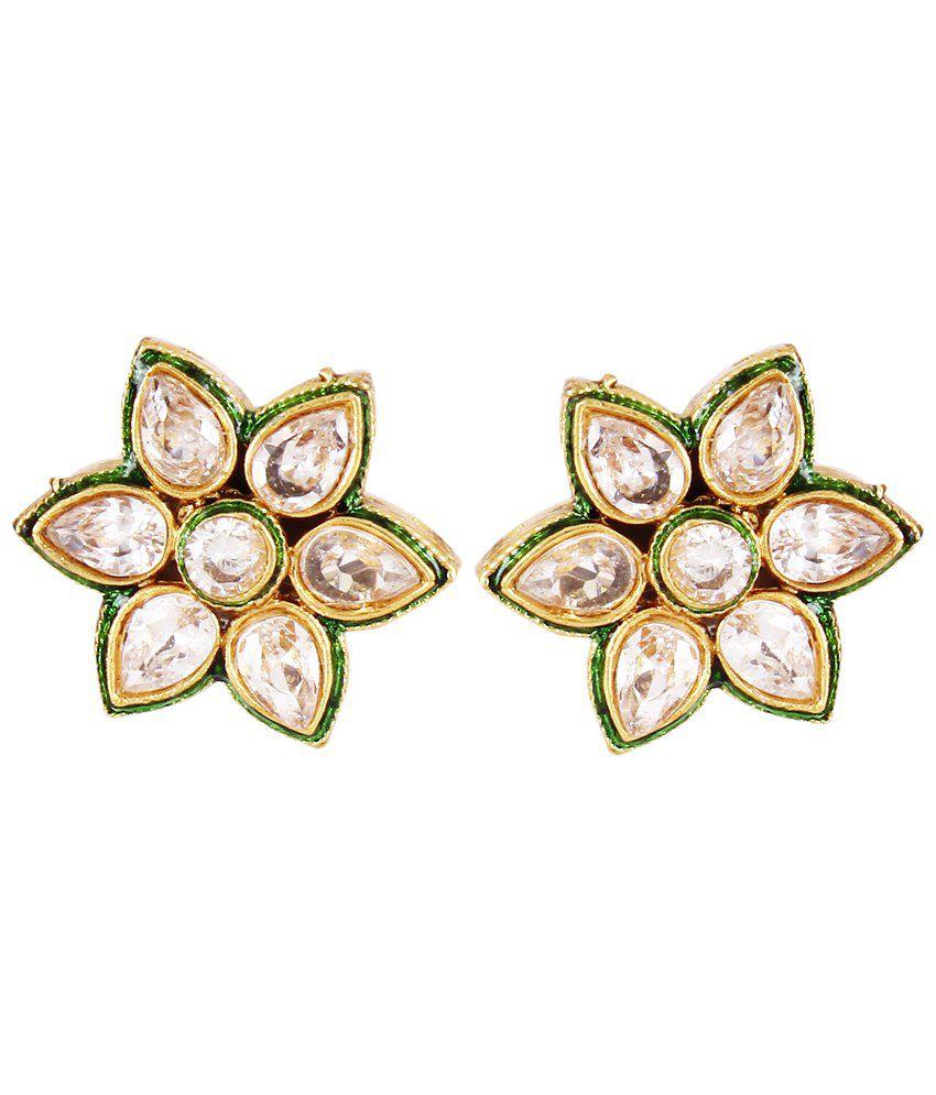 ShinningDiva Golden & Green Kundan Stud Earrings