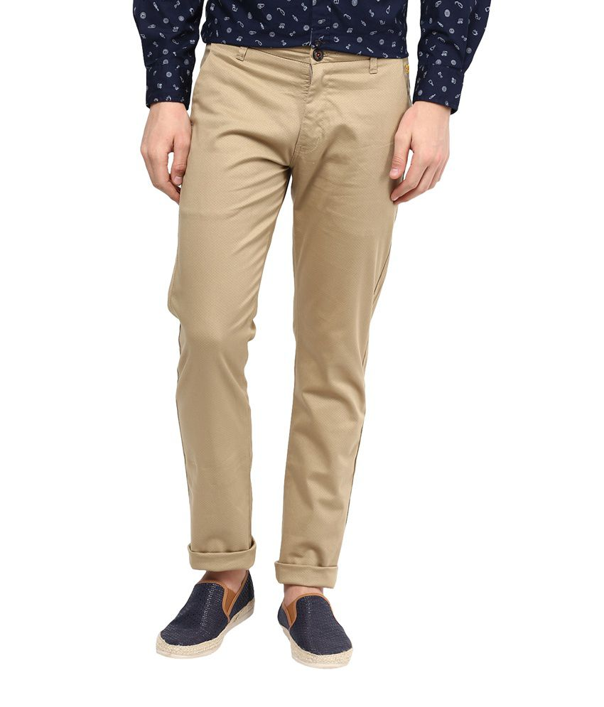 Urban Navy Beige Slim Fit Casual Chinos