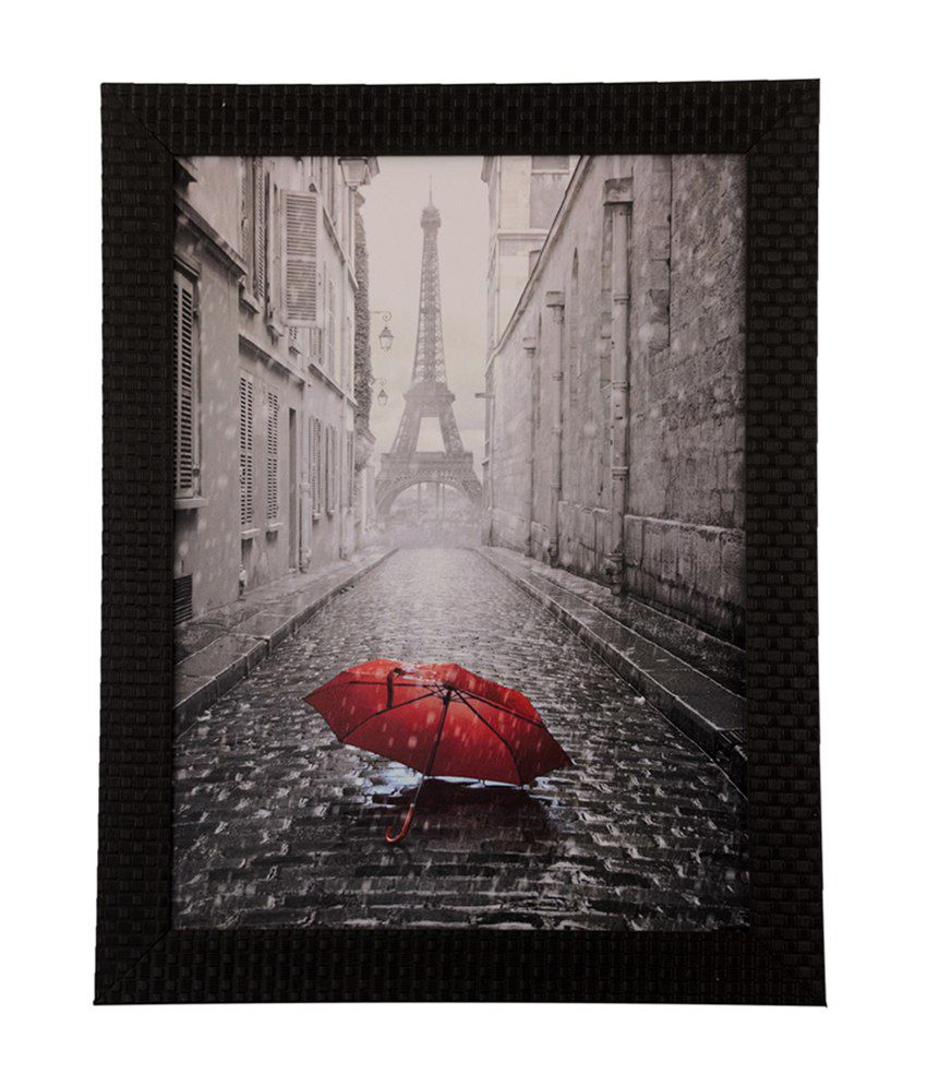eCraftIndia Eiffel Tower View Under Rain with Satin Matt Texture and Framed UV Art Print