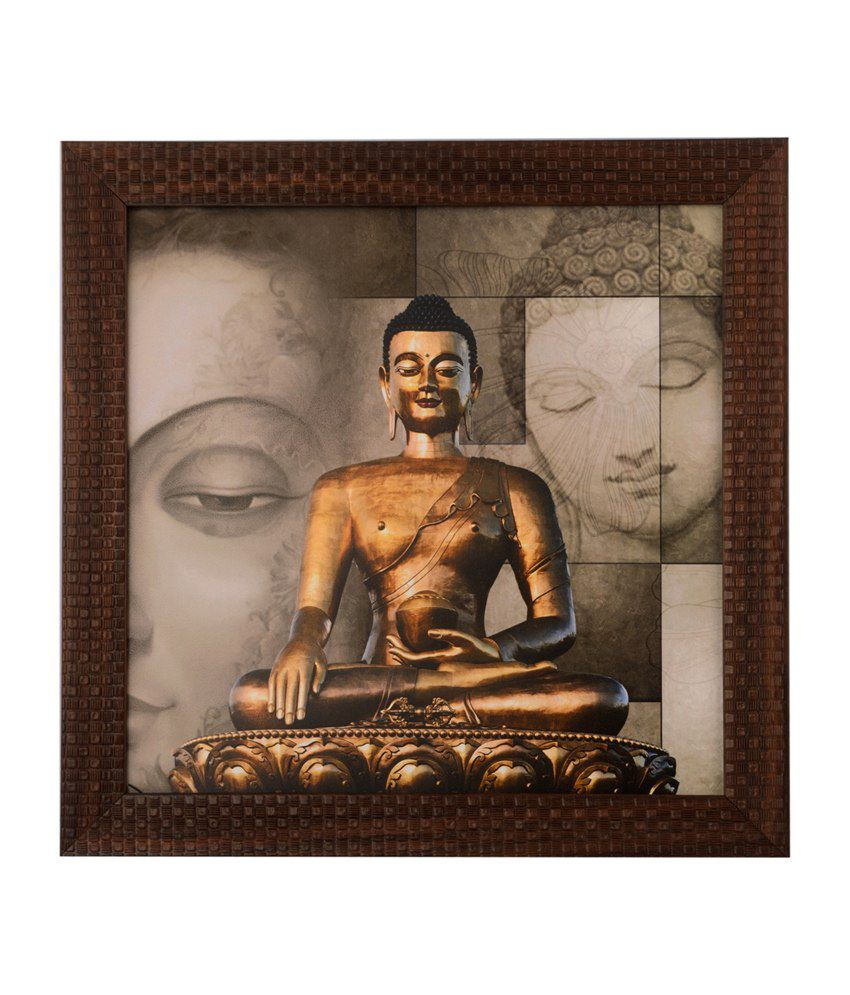 eCraftIndia Meditating Buddha with Satin Matt Texture and Framed UV Art Print