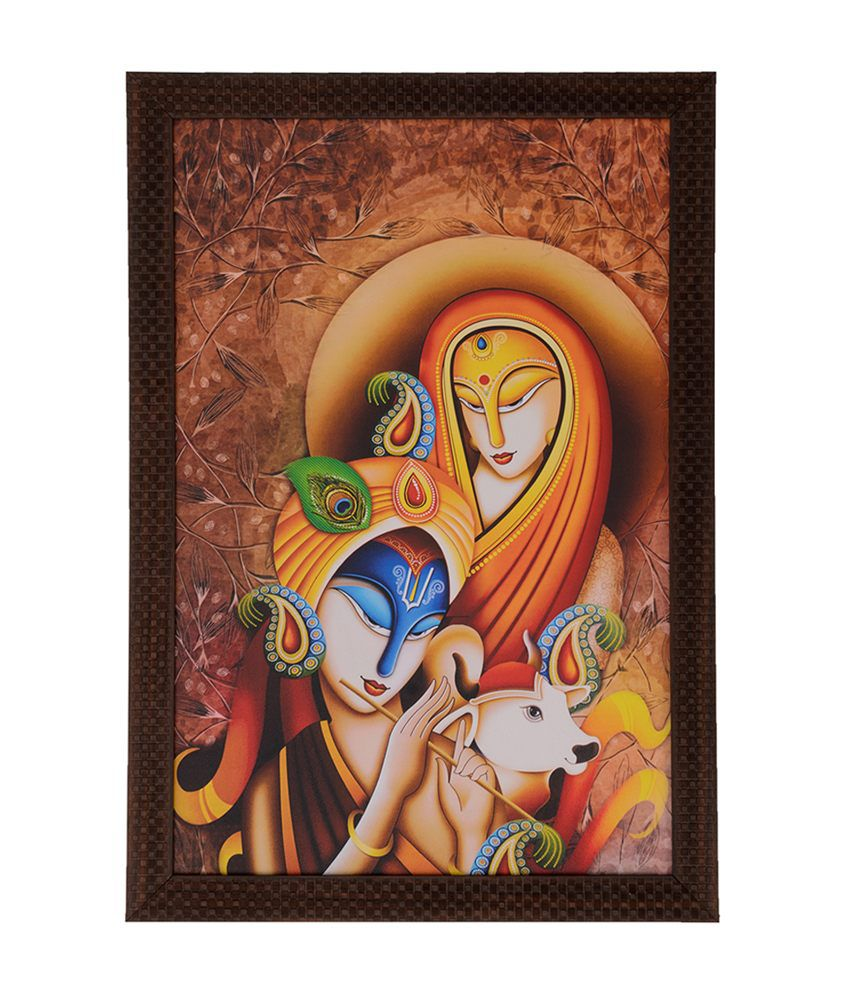 eCraftIndia Radha Krishna with Calf with Satin Matt Texture and Framed UV Art Print