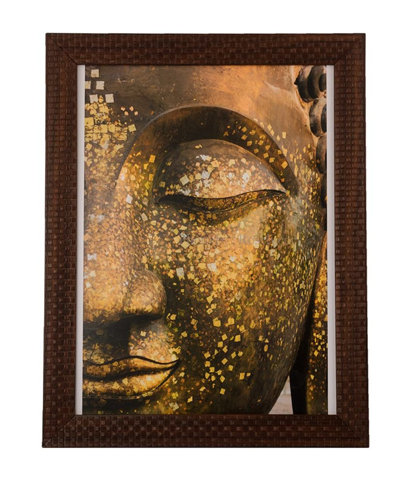 eCraftIndia Spiritual Buddha with Satin Matt Texture and Framed UV Art Print