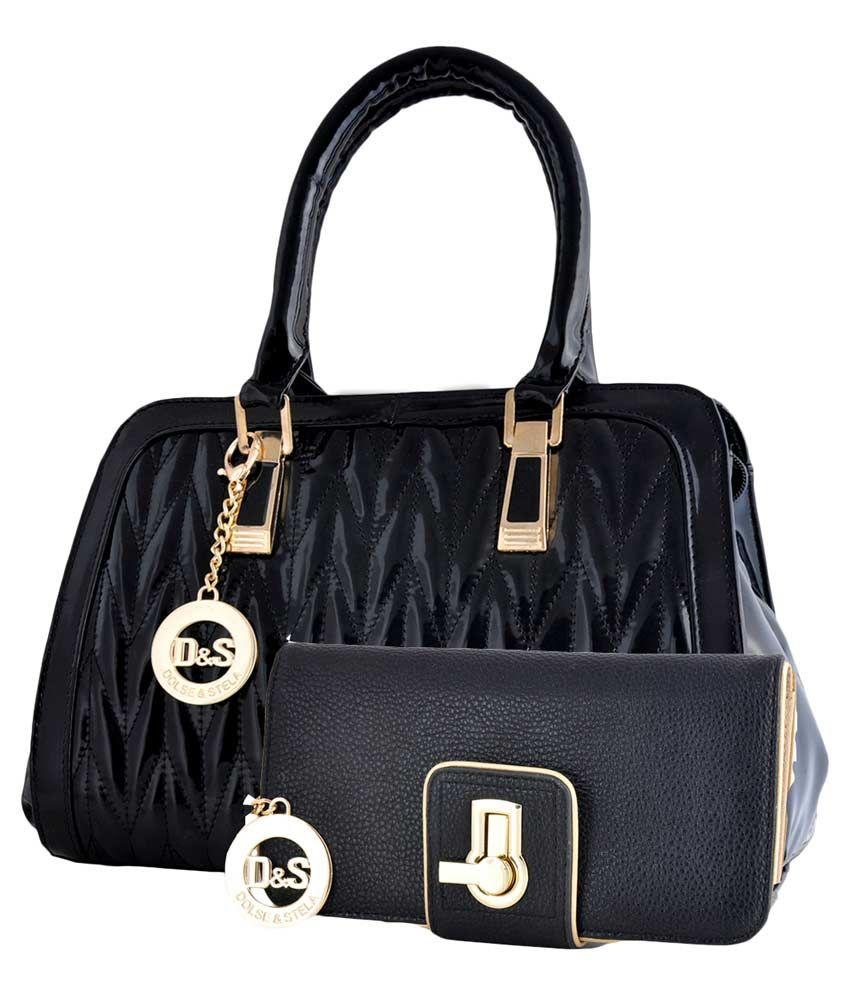 Dolse & Stela Black Shoulder Bag With Clucth