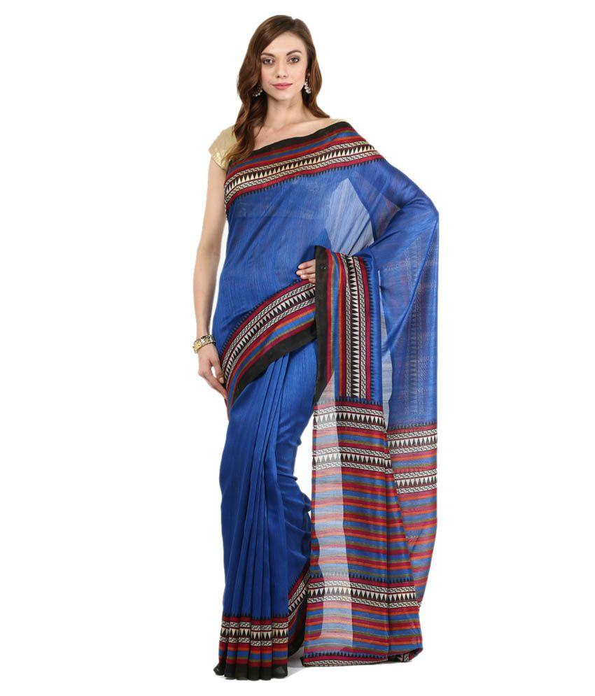 Jaanvi Fashion Blue Cotton Saree