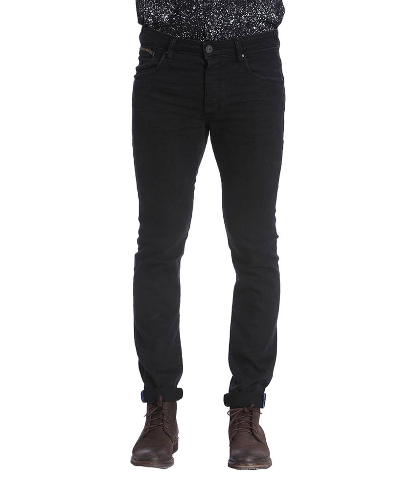 Jack & Jones Black Cotton Slim Fit Men's Jeans