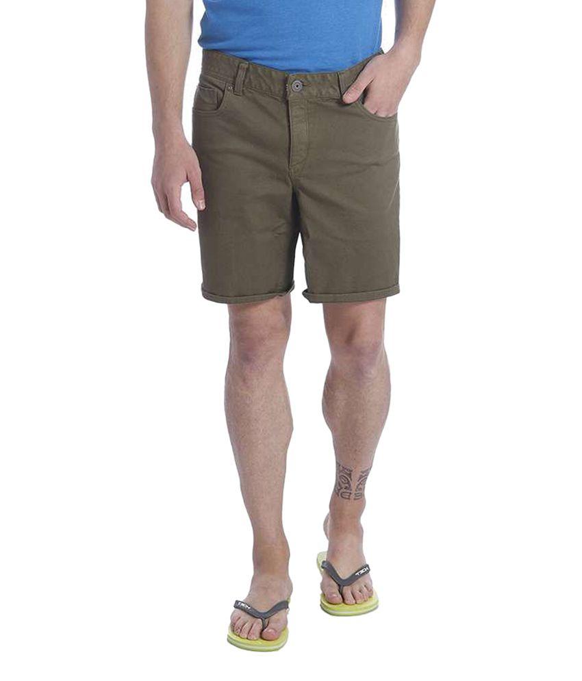 Jack & Jones Green Cotton Solid Shorts