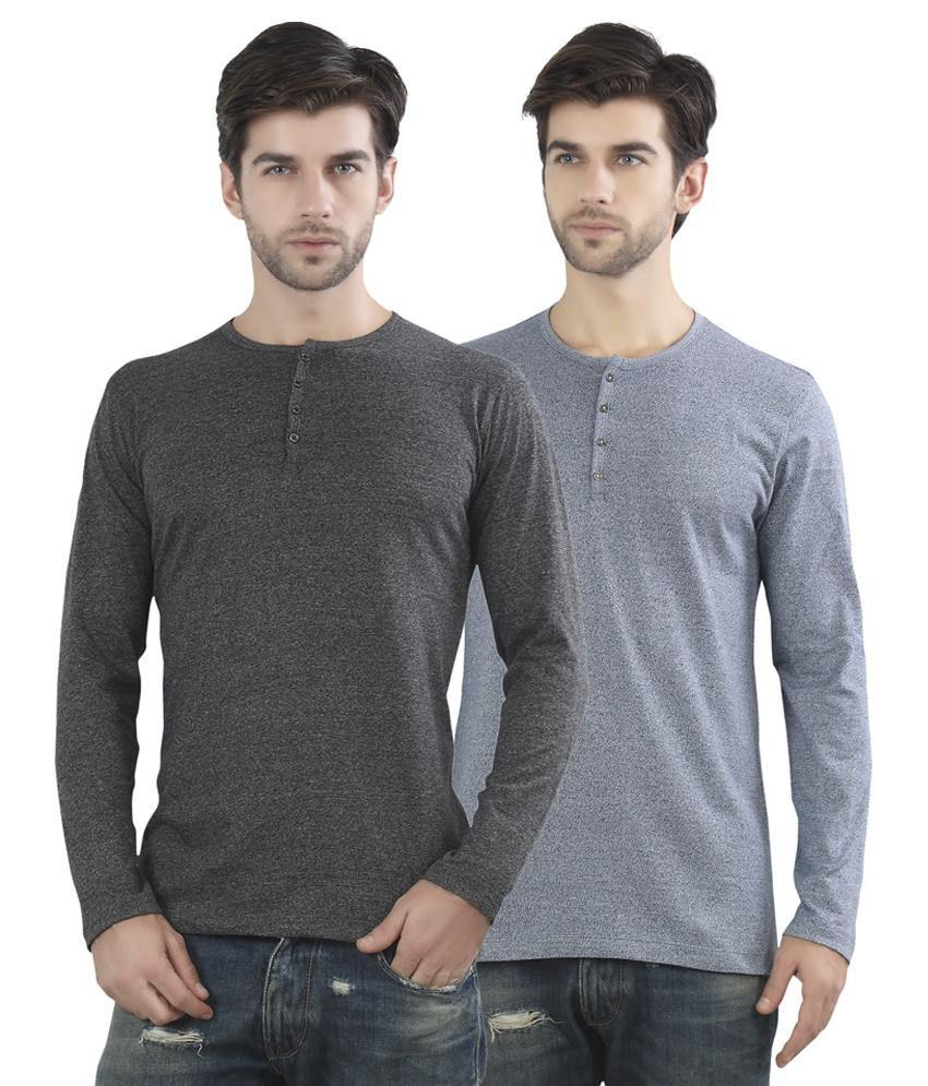 Maniac Multicolour Cotton Blend T Shirt Pack Of 2