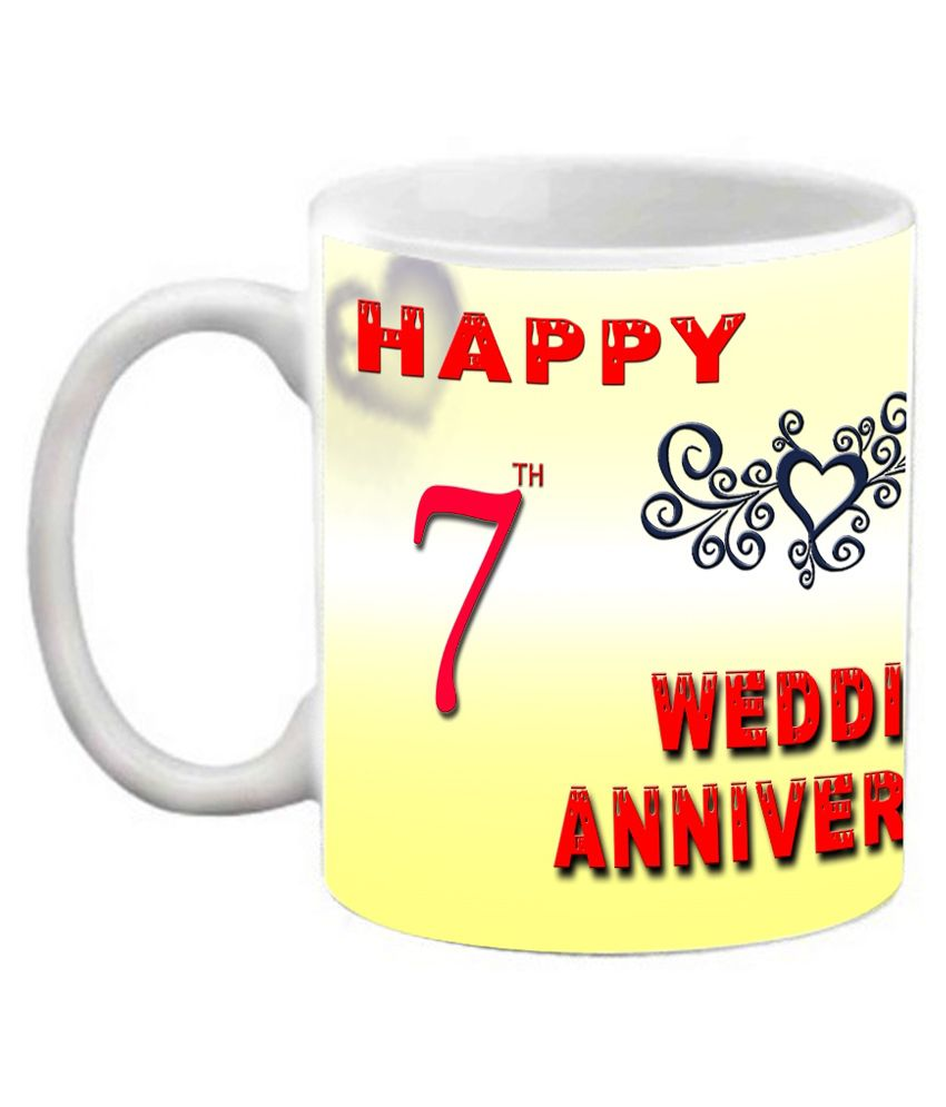 Efw Happy 7th Wedding Anniversary Printed Ceramic Coffee