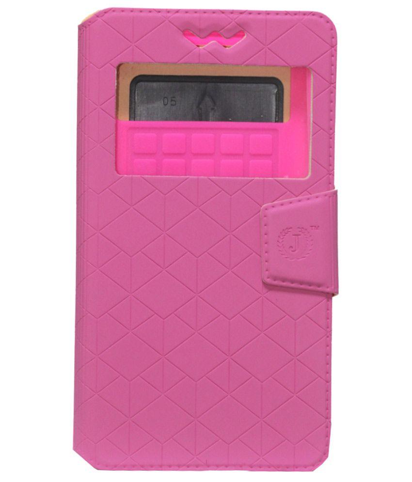 Jo Jo Flip Cover For Celkon Millennium Elite Q470 - Pink
