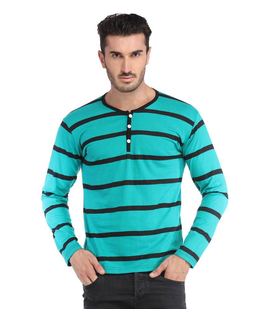 Leana See Green Black Men Stripe Tshirt