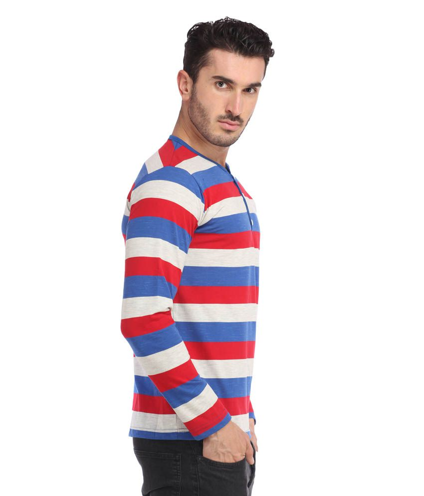 Leana Blue-Red-Grey Men Stripe Tshirt