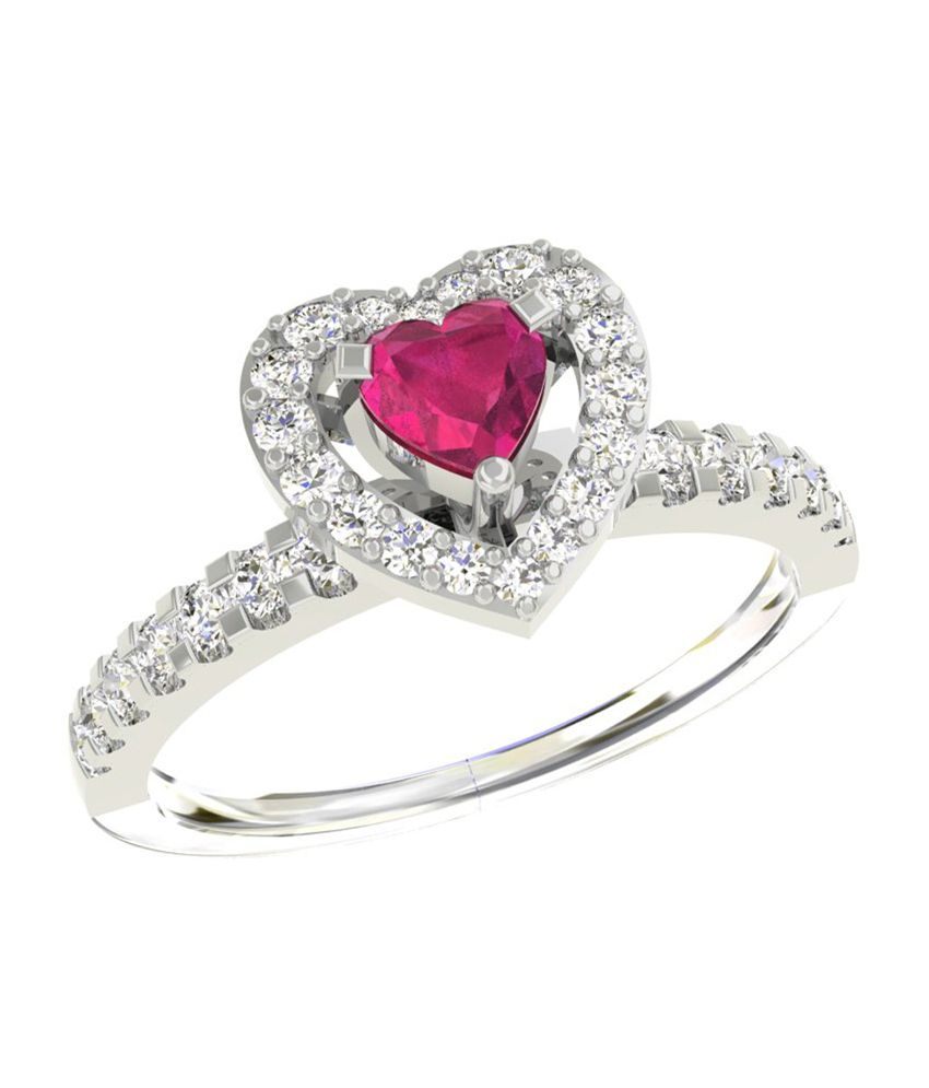 TBZ-The Original 18Kt White Gold Love Heart Ladies Ring with 0.32 ...
