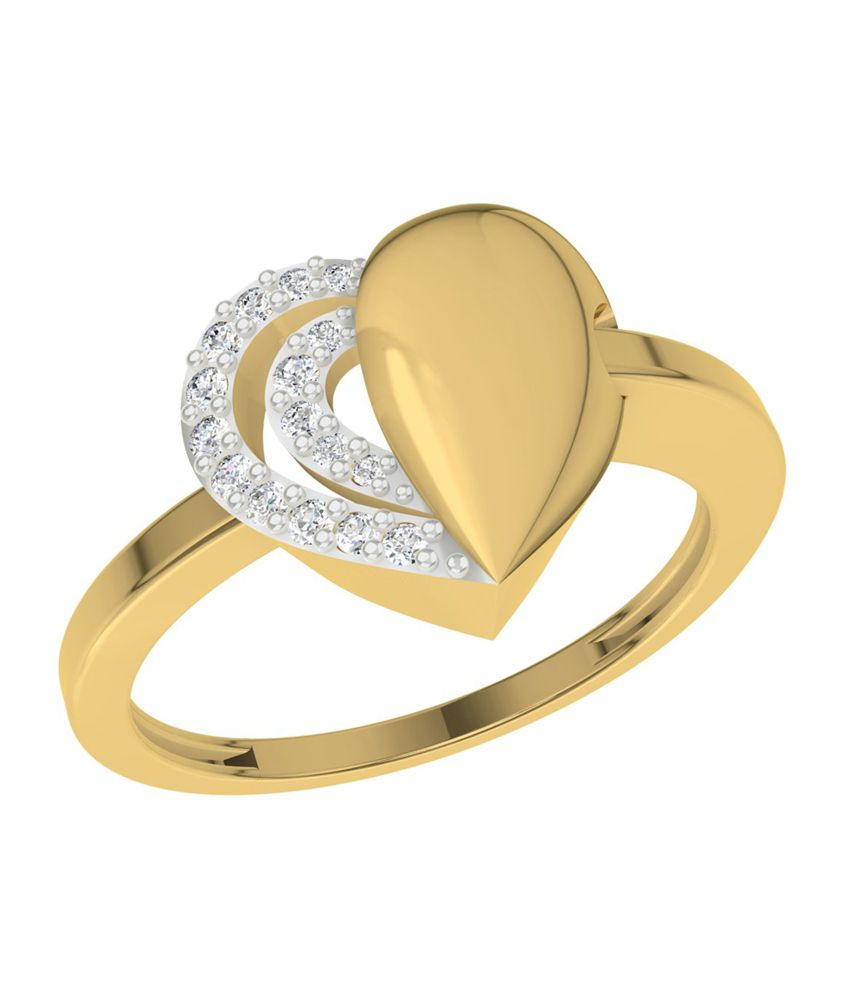 TBZ-The Original 18Kt Yellow Gold Love Heart Ladies Ring with 0.07cts Diamonds