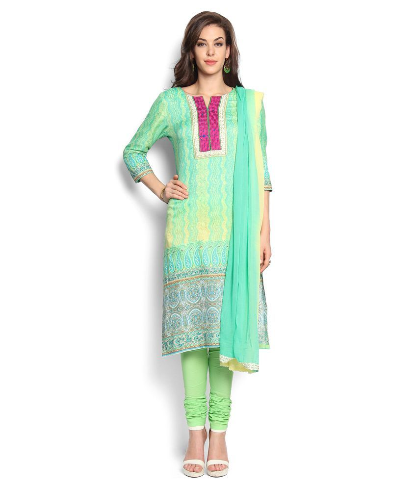 Soch Green Cotton Stitched Suit