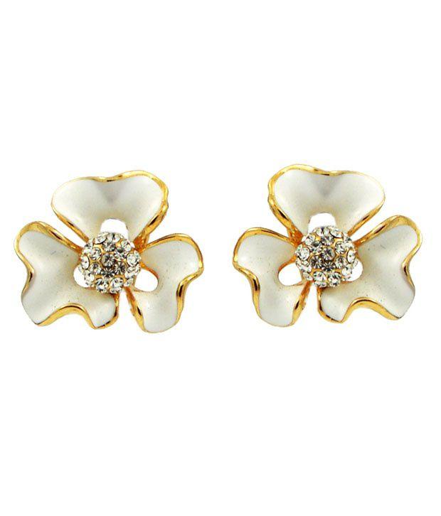 Beautiart White Alloy Stud Earrings
