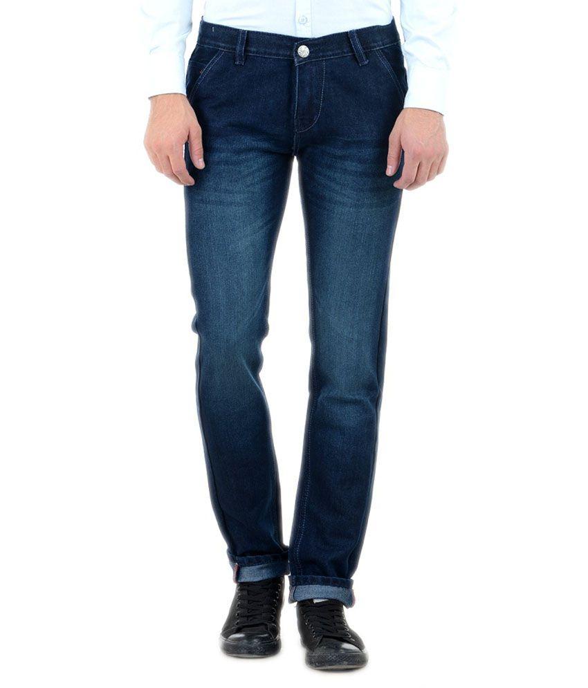 Denim 86 Blue Cotton Blend Slim Fit Jeans