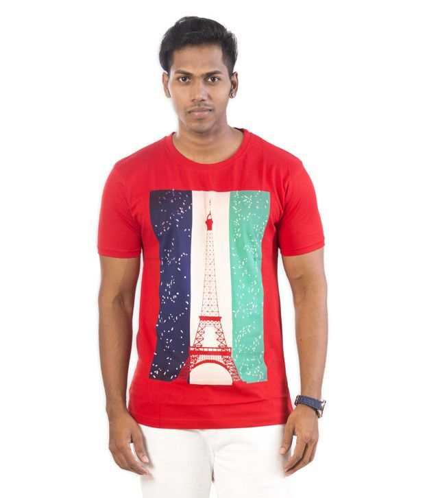 Well On Red Cotton Blend T Shirt