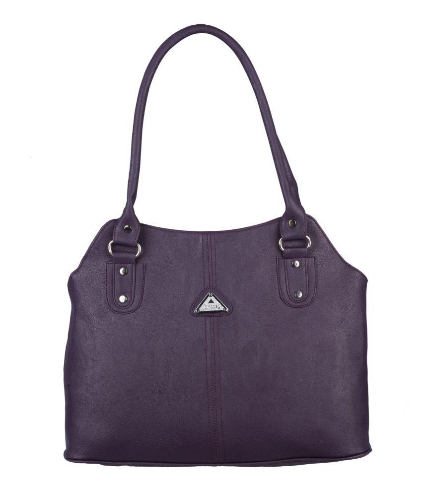 Fantosy Purple Faux Leather Shoulder Bag