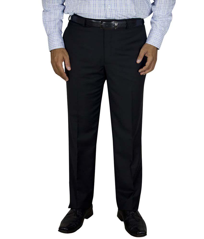 Kinger Black Regular Fit Formal Flat Trouser