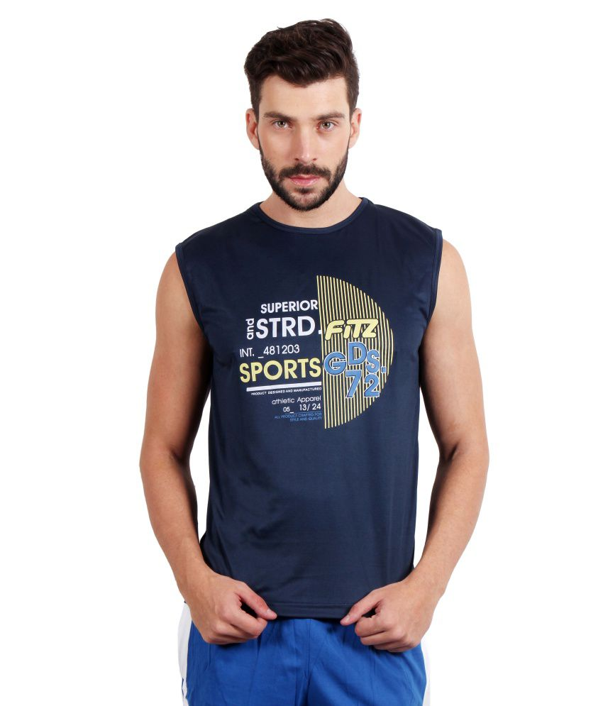 Fitz Blue Polyester T-Shirt