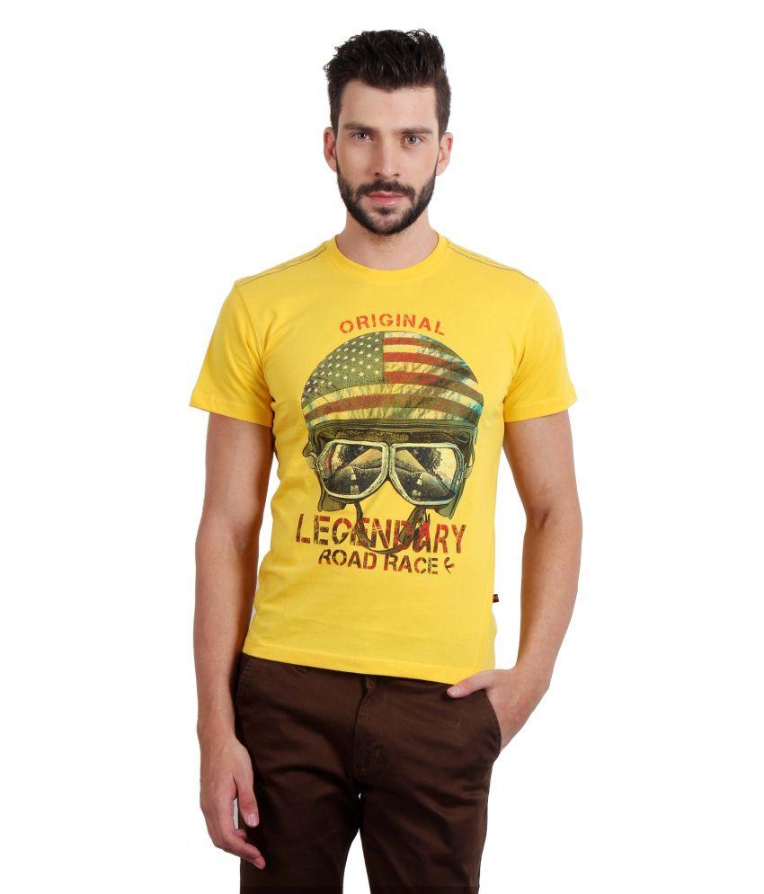 Fitz Yellow 100 Percent Cotton T-Shirt