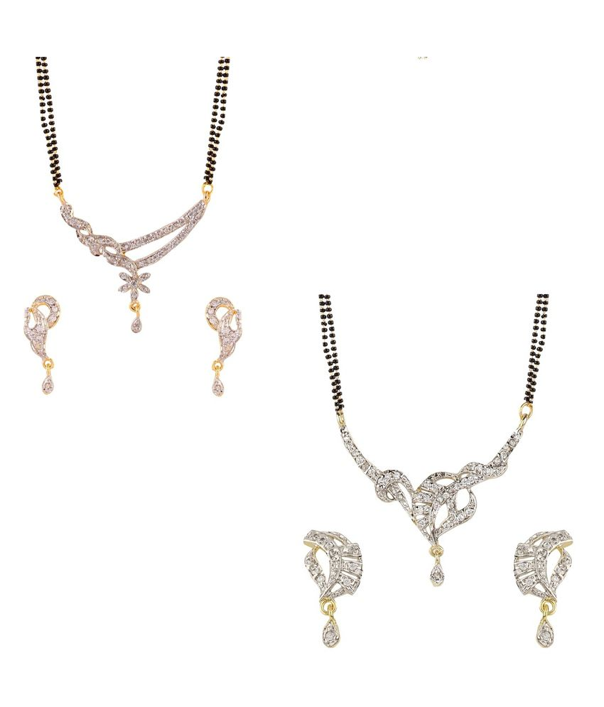 YouBella American Diamond Mangalsutra & Earrings - Set of 2
