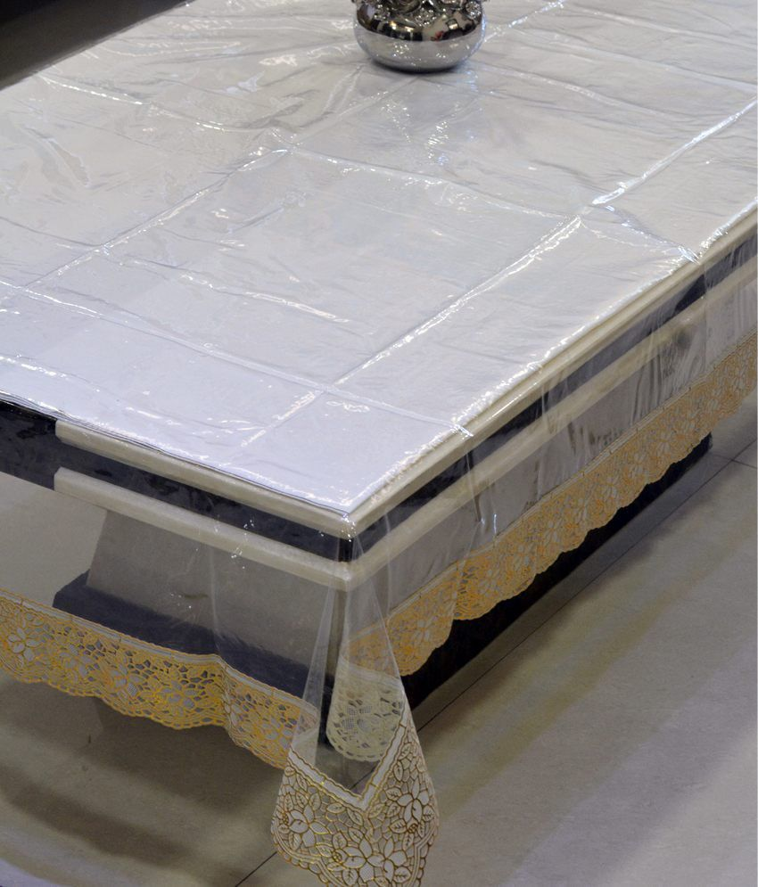 Kuber Industries Gold Plain Plastic Table Cover