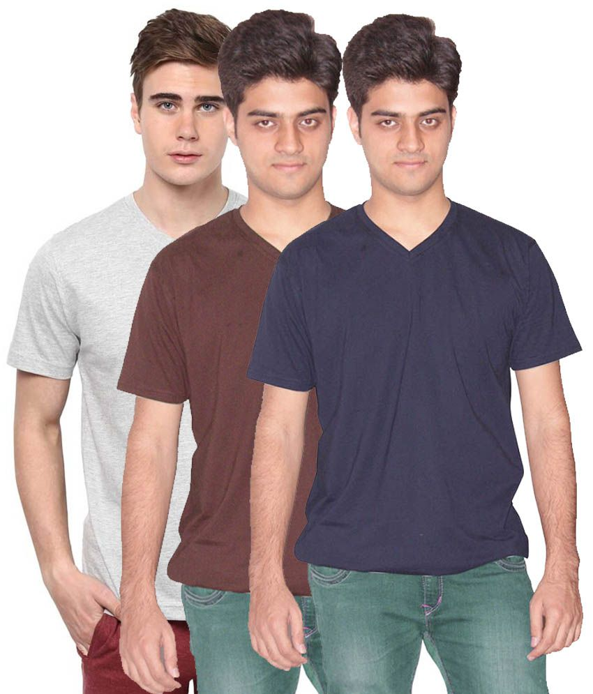 Xarans Multicolour Cotton T-Shirt - Pack Of 3