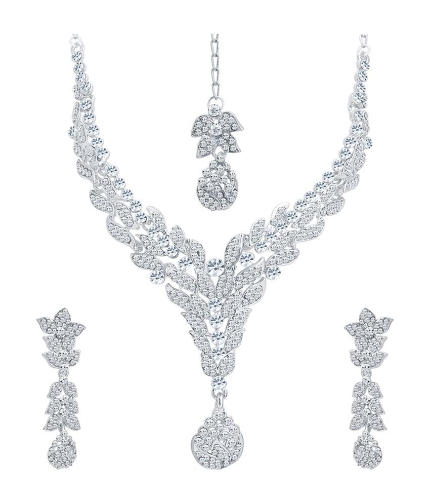 Sukkhi Stunning Rhodium Plated Necklace Set with Maang Tika for Women
