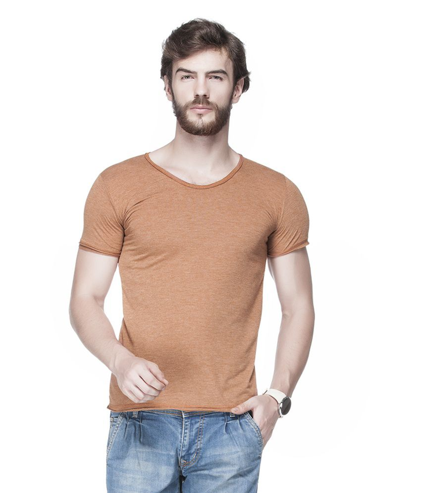 Tinted Brown Cotton Blend Solid Men's T-Shirt