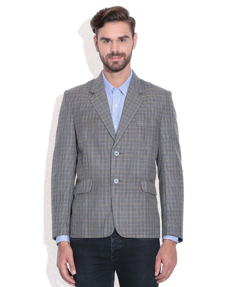 Tribes India Gray Checkered Woollen Blazer